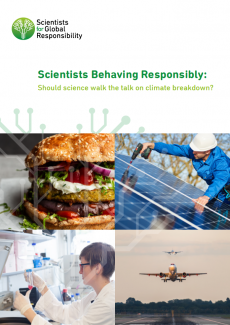 Cover of Scientists behaving responsibly report, shows a burger, a plane, a scientist in a lab and someone installing solar panels