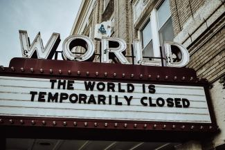 A theatre closed due to the pandemic
